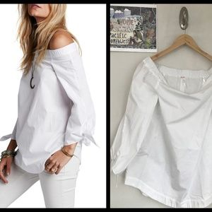 Free People Show Me Some Shoulder Cotton Blouse S